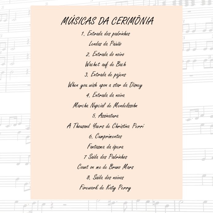 Lista de músicas para a cerimônia