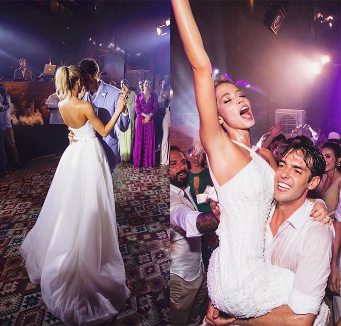 Kaka e Carol Dias dançando na sua festa de casamento